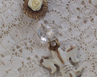 Soft Cream Antique Gold Crystal Fleur-de-Lis Floral Assemblage Necklace by ceeceedesigns on etsy