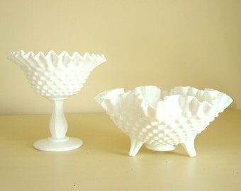 Fenton hobnail milk glass, footed comport AND peanut dish, instant collection, candy bowls, candy dishes, wedding decor, sweet table display