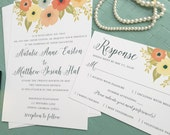 Floral Wedding Invitations | Romantic Wedding Invitation Suite | Pink, Peach, Teal and Yellow Wedding Invites | Flower Wedding Invitations |