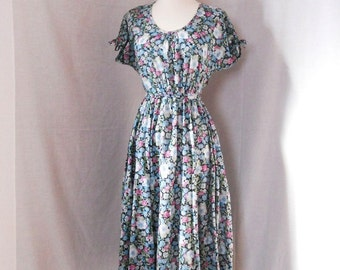 80s Belle France floral dress. Boho country dress. Jane Schaffhausen. Tag size 10. Hippie dress.