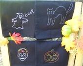 4 Black Halloween cloth napkins- hand embroidered