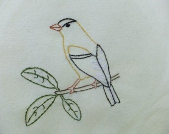 American Goldfinch tea towel- hand stitched