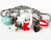 Inuyasha Necklace, Anime Figurine Pendant, Stainless Steel Ball Chain, Mint Green, Red, Anime Jewelry, Geek Gift