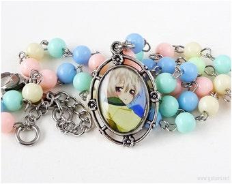 Kamisama Hajimemashita Chibi Tomoe Cameo Necklace, Fairy Kei Necklace, Waloli, Kawaii Jewelry, Pastel Colors, OOAK