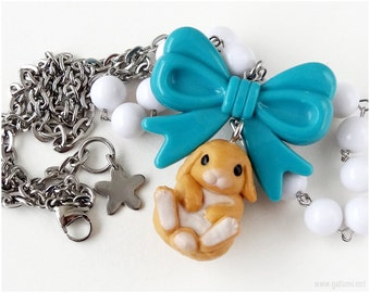 Orange Bunny Necklace, White Beaded Chain, Teal Bow Pendant, Stainless Steel, Sweet Lolita, Kawaii Jewelry