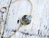 Grey Faux Stone Bracelet, Galaxy Bracelet, Outer Space Resin Jewelry, Minimalist Bracelet, Stacking Boho Bracelet