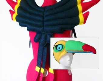Toucan Costume. Wings and Hat. Exotic, Tropical Bird.