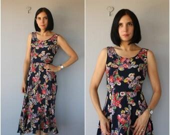 Vintage Printed Rayon Dress | Vintage Maxi Dress | 1990s does 1930s Dress | 90s does 30s Dress