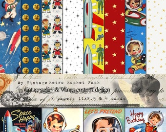 Vintage 1950's Kids SPACEMAN ROCKET Digital Scrapbook Paper Pack 11 x 8.5 - 8 Papers & 4 Cards - Instant DIGITAL Download