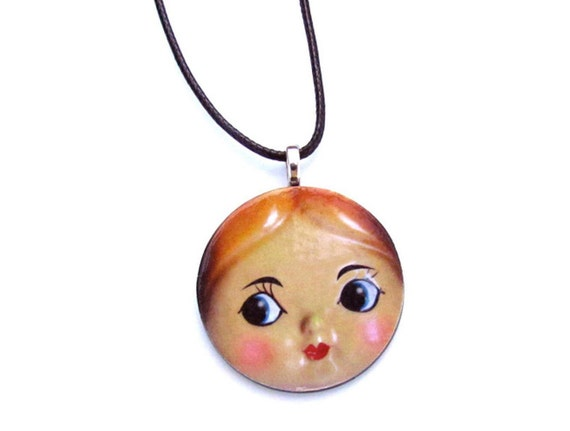 Retro Doll Face Necklace - Doll Pendant - Doll Collector Gift - Stocking Stuffer
