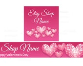 Etsy Banners - Pink Etsy Banners - Valentine's Day Banner and Shop Icon Set  - PS 5 - Etsy Valentine's Banners - 2 Piece Set