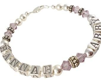 Light Amethyst crystal or any swarovski bracelet birthstone colors - Mother Bracelet - Mom jewelry - Child name - grandma
