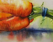 Bright Carrots - original daily painting by Kellie Marian Hill