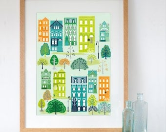 New York Brooklyn Brownstone Houses in Summer Art Print