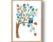 owl nursery art, art print Owl on a Tree, watercolor owl print, Baby shower, kids room, woodland art, Personalized art print, blue aqua