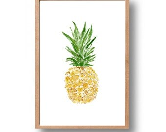 Pineapple art print, pineapple watercolor print, tropical fruit art, Green Yellow, Kitchen decor, kitchen art, pineapple art, thejoyofcolor