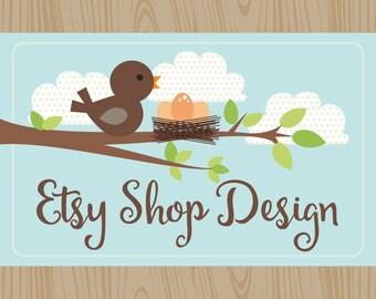 Etsy Shop Design, Etsy Cover & Shop Icon, Etsy Banner Shop Set, Premade Design Package / Wood Forest, Bird Owls, Caligraphy, Logo Design
