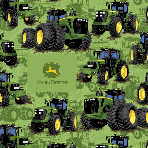John Cotton Books: John Deere 100% Cotton Fabric Tractors On Green Background