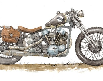 "Custom Motorcycle Print 11 x 14"""