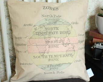 Vintage Zones of the Earth cushion or pillow - perfect for adventurers and navigators!