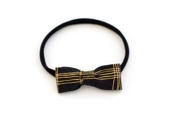 Black and Gold Stripe Baby Headband - Cotton Bow with Soft Stretchy Elastic Nylon - Newborn to Toddlers - Handmade by Mane Message on Etsy