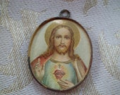 OLD Vintage Antique Religious Sacred Heart & Virgin Mary Scapular Picture Pendant Medal
