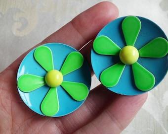 Vintage Green and Blue Flower Power Earrings MOD