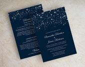 Starry Night Wedding Invitation - Twinkling Starry Night - Twinkling Lights - Stars - Glitter Star Wedding Invitations - Navy Blue - Twinkle