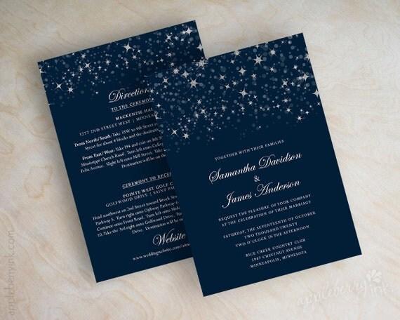 Star Wedding Invitations: Items Similar To Starry Night Wedding Invitation