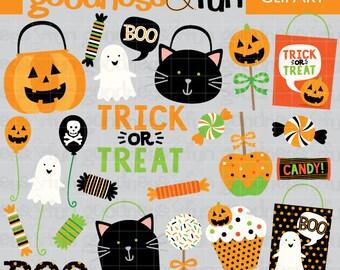 Buy 2, Get 1 FREE - Halloween Treats Halloween Clipart - Digital Halloween Clipart - Instant Download