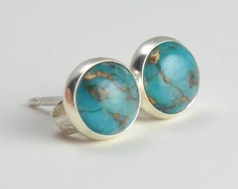 mojave turquoise 6mm sterling silver stud earrings pair