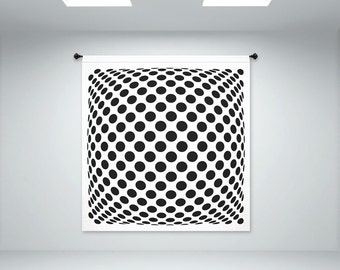 """Polka Dots Op Art Illusion - Fabric Wall Panel in """"Mad Men"""" Style - XTRA LARGE 6'x6'3"""" (hardware not included)"""