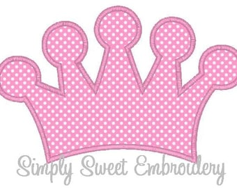 Princess Crown Machine Embroidery Applique Design