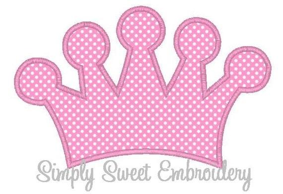 Princess Crown Machine Embroidery Applique Design