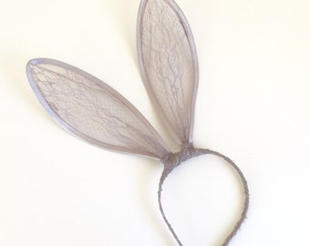 Silver  grey lace bunny ears Headband