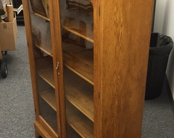 Antique Oak Bookcase Cabinet 38w13d69h Shipping is Not free