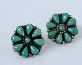 Vintage sterling and turquoise petit point pierced earrings / silver native american Zuni large button earrings