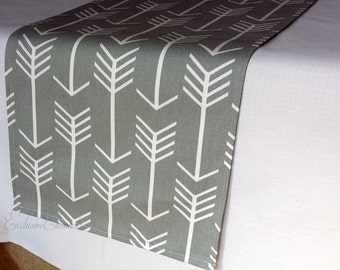 Gray Table Runner Arrow Decor Table Centerpiece Wedding Grey Table Linens Runner Shower Reception Party Decor