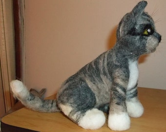 Adorable needle felted tabby cat kitten