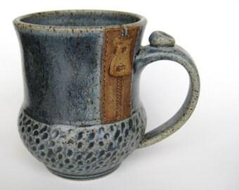 Mug with a zipper in rustic blue, IN STOCK
