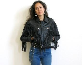 Fringe Motorcycle Jacket / Black Leather Jacket / Rocker Jacket Sz S