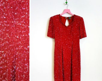 Vintage 1980s Sylvia Ann Red Beaded/ Sequin Silk Dress