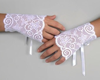 Lace Bridal Fingerless Gloves, Wrist Cuffs, White Elastic Lace, Romantic Wedding, Spring Wedding