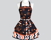 Ruffled Retro Apron / Halloween Costume Apron Features Spiders and Webs and Orange and Black Chevron Large Pocket for Treats