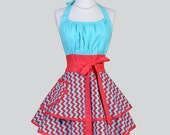 Flirty Chic Womens Aprons / Full Retro Kitchen Cooking Apron in Vintage Red Aqua Chevron with Teal Top Cute Handmade Hostess Womans Apron