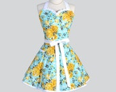 Sweetheart Retro Womans Apron - Cute Kitchen Cooking Apron in Vintage Turquoise and Golden Rose Floral Full Flirty Handmade Womens Aprons