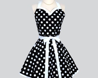Sweetheart Retro Womans Apron - Flirty Cute Apron Vintage Black and White Polka Dot Full Kitchen Cooking Hostess Womens Aprons