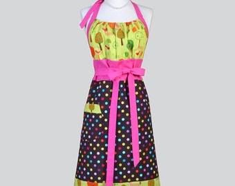 Cute Kitsch Retro Aprons , Full Chef Vintage Kitchen Womans Apron in Hot Pink Citron Brown Polka Dot Handmade Hostess Cooking Womens Apron
