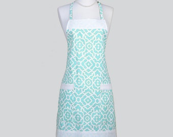 Full Chef Retro Apron . Apron Ivory Mosaic Geometric Design on Mint Green Washable Home Decor Fabric Cute Womens Vintage Chef Apron