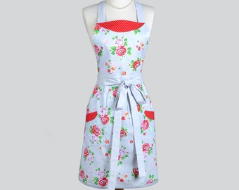 Classic Bib Apron / Vintage Inspired Riley Blake Rose Print on Grey Perfect Gift for Her or your Retro kitchen cooking apron